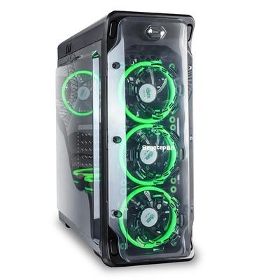 鑫谷LUX拉克斯女神机箱 面板侧板全透明 支持ATX大板/240水冷 透光游戏电脑台式机箱 重装版黑色机箱