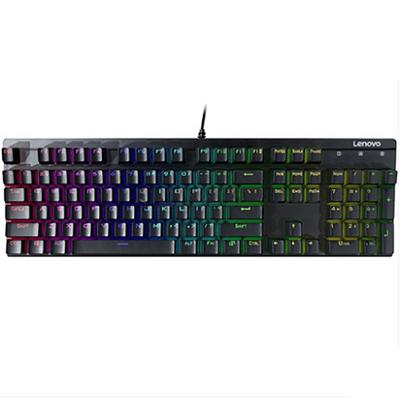 联想(Lenovo)MK300 RGB幻彩 青轴机械键盘 黑色 有线游戏键盘 包邮